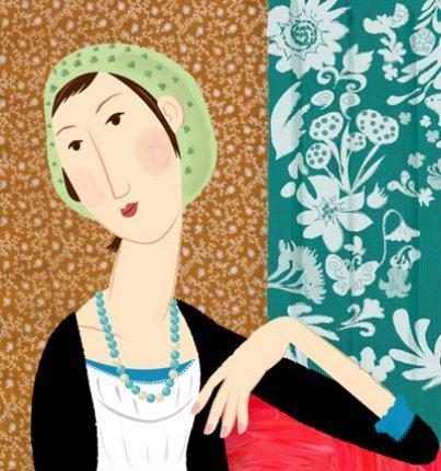 緑のカーテンと女性