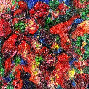 アカイトリタチ キャンバスにアクリルと油彩