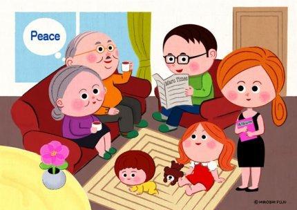 まる家族の居間